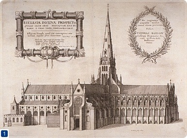 St Paul's Cathedral before the Fire, by W Hollar, 1657. Image ref q6078055, available at http://collage.cityoflondon.gov.uk/collage/app. Copyright City of London: London Metropolitan Archives. Not to be reused without permission.