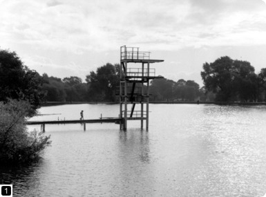 Diving platform, Men's Bathing Ponds, Hampstead Heath, 1961. From the London Metropolitan Archives Photograph Library. Ref SC/PHL/02/1105. Copyright City of London: London Metropolitan Archives. Not to be reused without permission.