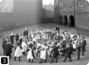 Organised dancing in playground, Flint Street School, Southwark, 1908. From the London Metropolitan Archives Photograph Library. Ref SC/PHL/02/ 0205. Copyright City of London: London Metropolitan Archives. Not to be reused without permission.